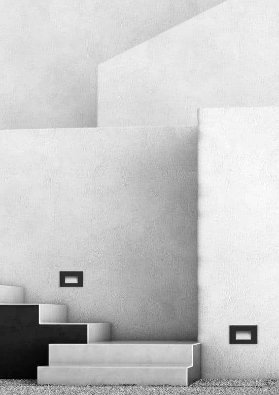 Render 3d architettura di esterni con illuminazione