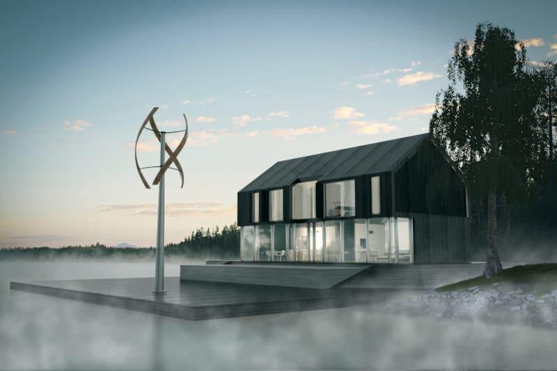 Rendering 3d architettonico esterno con pala eolica