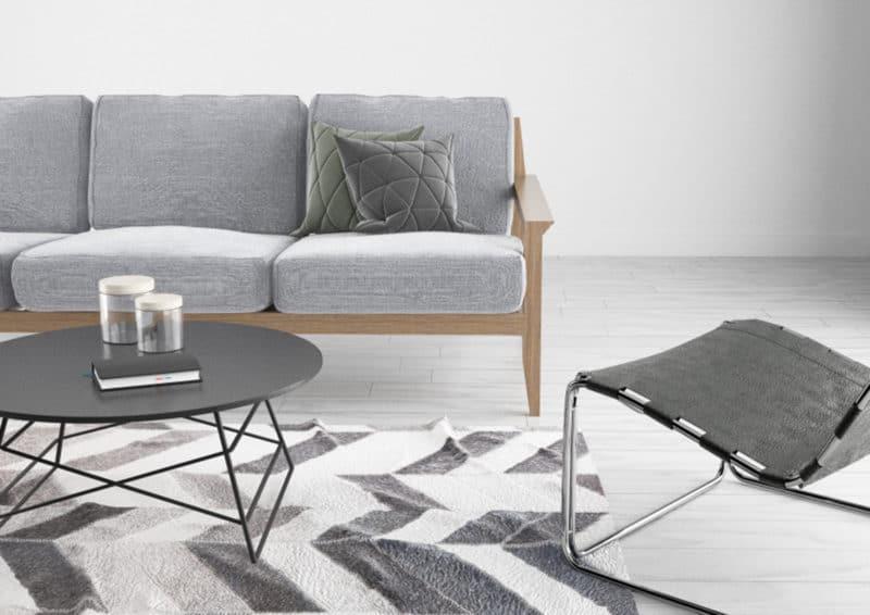 Rendering 3d interni salotto grigio e bianco